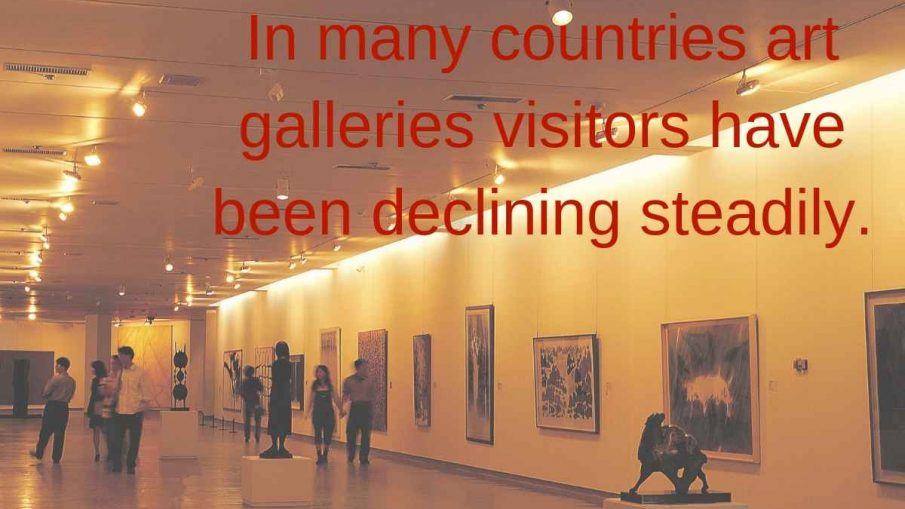In many countries art galleries visitors have been declining steadily.