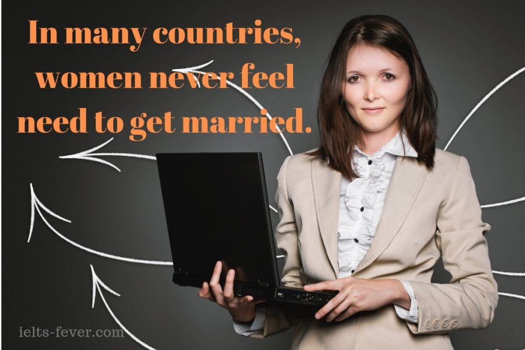 In many countries, women never feel need to get married.