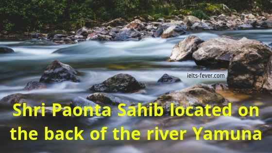 Shri Paonta Sahib located on the back of the river Yamuna